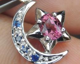 Pink Tourmaline w/ Sapphires Pendant