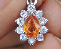 Mandarin Spessartite with White Sapphires Pendant