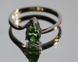 Tsavorite Garnet 1.01ct Solid 18K White Gold Solitaire Ring