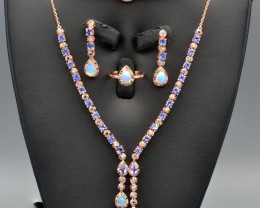Natural Tanzanite, Opal, CZ and Silver Jewelry Set