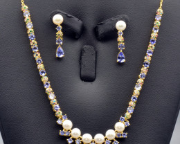 Natural Tanzanite, Pearls, CZ and Silver Jewelry Set
