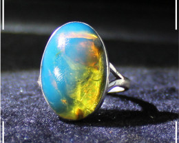 Outstanding Genuine Dominican Natural Clear Sky Blue Amber .925 Sterling Si