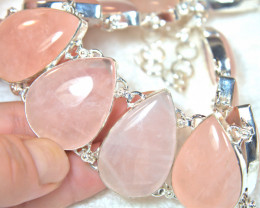 562.0 Total Carat Weight - Rose Quartz / 9.25 Sterling Silver Necklace - Go