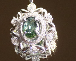 Green Sapphire 1.02ct White Gold Finish Solid 925 Sterling Silver Pendant,