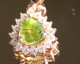 Peridot 2.10ct Rose Gold Finish Solid 925 Sterling Silver Pendant