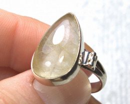30.0 Carat Rutile Quartz / Sterling Silver Ring - Size 6.75 - Beautiful