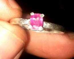 6.45 carat pink tourmaline 925 silver ring, 5x4x3 mm