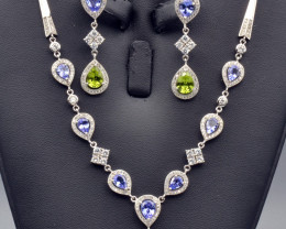Natural Tanzanite, Peridot, CZ and Silver Jewelry Set