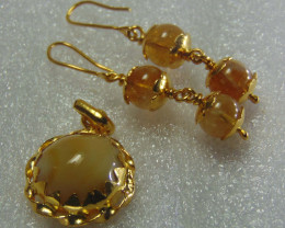 gold plated earring pendent ~ 999 silver designs 41.25 cts