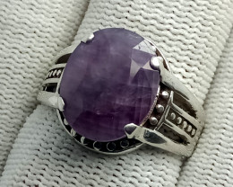 Natural Corundum Oval 925 Sterling Silver Ring