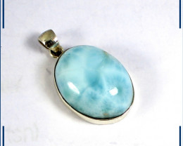 Exquisite Natural Light Blue Larimar .925 Sterling Silver Oval Pendant 30mm