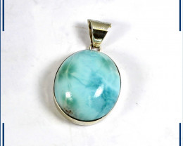Excellent Natural Sky Blue Larimar .925 Sterling Silver Oval Pendant 32mm