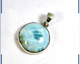 Beautiful Natural Light Blue Larimar .925 Sterling Silver Pendant 30mm