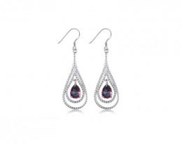 925 Amethyst Sterling Silver Clip Huggie Earrings