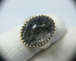 Natural Rutile Quartz 36.55 Carats 925 Silver Ring