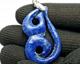 29.30 Carats Natural Blue Lapis Lazuli Crafted Pendant