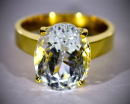 Aquamarine 8.50ct 18K Solid Gold Ring, Certified and Appraised by GIA Gemol