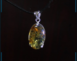 Exquisite Natural Clear Yellow Blue Amber .925 Sterling Silver Pendant 1.6i