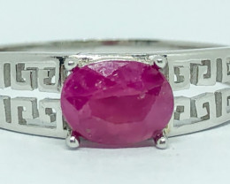 15.85 Crt Natural Ruby 925 Silver Ring