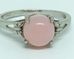 10.90 Crt Natural Pink Opal 925 Silver Ring