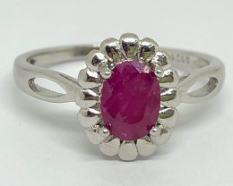 10.15 Crt Natural Ruby 925 Silver Ring