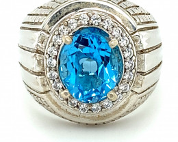 Blue Topaz 2.15ct Platinum Finish Solid 925 Sterling Silver Ring