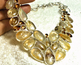 520.0 Total Carat Weight Sterling Silver, Opal, Citrine Necklace - Gorgeous