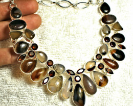 514.5 Tcw. Opal,  Agate and Citrine Sterling Silver Necklace - Gorgeous