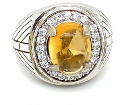 Citrine 7.10ct Platinum Finish Solid 925 Sterling Silver Ring