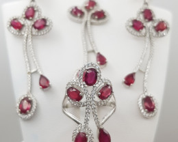 Glass Filled Ruby Complete Set with CZ in Silver 925