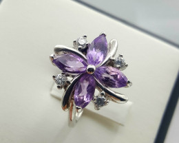Natural Amethyst with white zircon Ring.