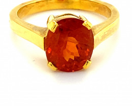 Spessartine 4.73ct Solid 18K Yellow Gold Solitaire Ring