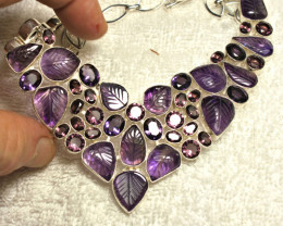 507.0 Carved Amethyst Sterling Silver Necklace - Gorgeous