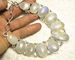 585.0 Tcw. Sterling Silver Moonstone Necklace - Gorgeous