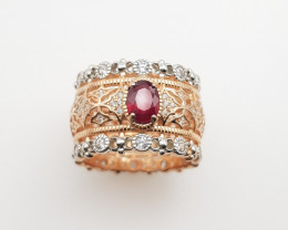 Glass Filled Ruby Ring Double Plated Silver
