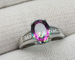Mystic Topaz 17.15 Carats 925 Silver Ring