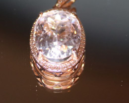 Kunzite 12.80ct Rose Gold Finish Solid 925 Sterling Silver Pendant