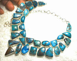 610.5 Tcw. Natural Tibet Turquoise Sterling Silver Necklace - Gorgeous