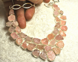 607.5 Tcw. Rose Quartz Rough Sterling Silver Necklace - Gorgeous