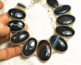 434.5 Tcw. Sterling Silver Agate Necklace - Gorgeous