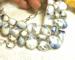 566.0 Tcw. Dendritic Opal Sterling Silver Necklace - Gorgeous