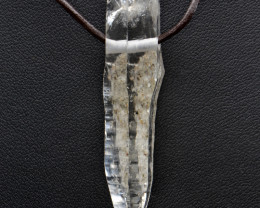 Natural Quartz Crystal and Leather Cord Pendant