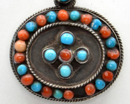 Natural Coral, Turquoise and Silver Antique Style Pendant
