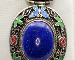 Natural Lapis Lazuli and White Metal Antique Style Inlay Pendant