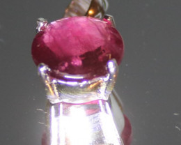 Rubellite 3.20ct Platinum Finish Solid 925 Sterling Silver Pendant