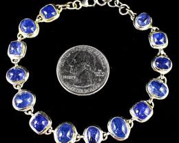 Stunning Genuine Tanzanite Bracelet In Silver