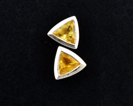 Stunning Genuine Citrine Ear Studs / Earrings In Silver
