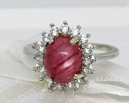 Star Ruby and Zircon Ring 5.00 TCW