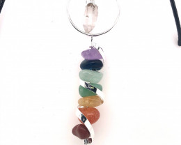 Seven Chakra - natural stones - Infinite Spiral pendant BR 2489
