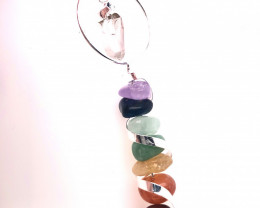 Seven Chakra - natural stones - Infinite Spiral pendant BR 2490